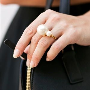 Kate Spade gold-tone double pearl ring